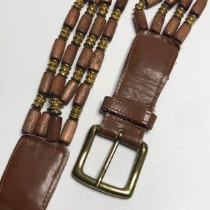 Compagnie Internationale EXPRESS Accessories - Vintage Express Wooden Bead and Leather Belt sz M